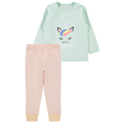 Name It meisjes pyjama Nkfnightset Spray groen/roze